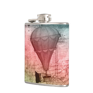 Steampunk Balloon Sketch Drinking Flask