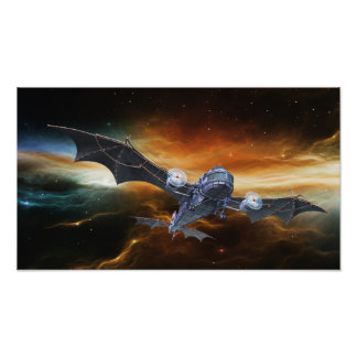 Steampunk Bat Airplane Poster
