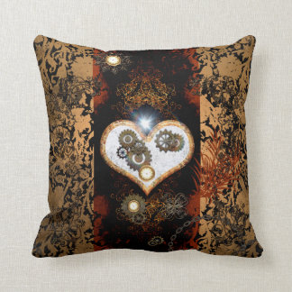 Steampunk, beautiful heart with gears and clocks cushion