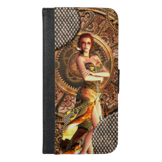 Steampunk, beautiful steam women iPhone 6/6s plus wallet case