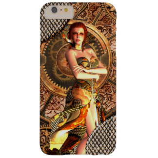 Steampunk, beautiful steam women with clocks barely there iPhone 6 plus case