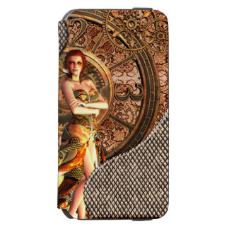 Steampunk, beautiful steam women with clocks incipio watson™ iPhone 6 wallet case