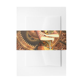 Steampunk, beautiful steam women with clocks invitation belly band