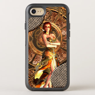 Steampunk, beautiful steam women with clocks OtterBox symmetry iPhone 8/7 case