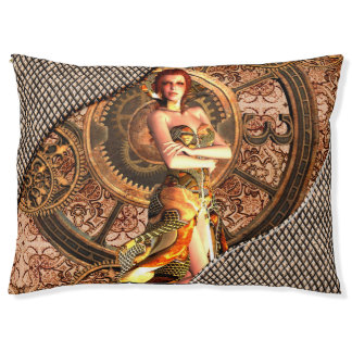 Steampunk, beautiful steam women with clocks pet bed