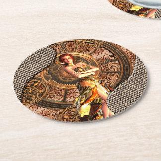 Steampunk, beautiful steam women with clocks round paper coaster