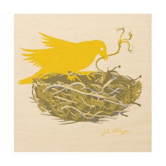 Steampunk bird nest wood canvases
