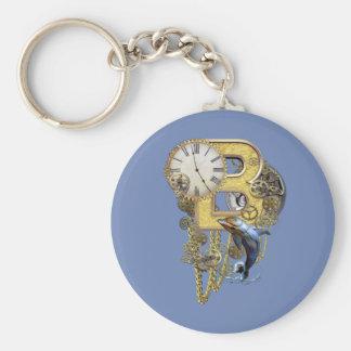 Steampunk birthday letter B Key Ring