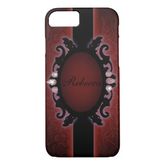 steampunk black and red gothic monogram iPhone 7 case