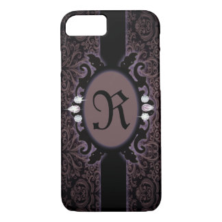 steampunk black plum purple gothic monogram iPhone 8/7 case