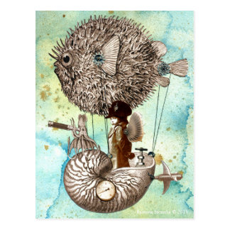 Steampunk Blowfish Mobile Postcard