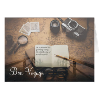 Steampunk Bon Voyage Quote Greeting Card