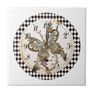 Steampunk Butterfly Round Small Square Tile