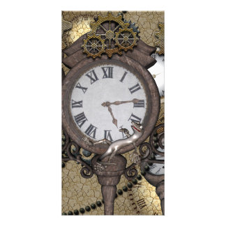 Steampunk can you sea the funny gecko photo greeting card