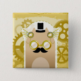 Steampunk Cat 2 Inch Square Button