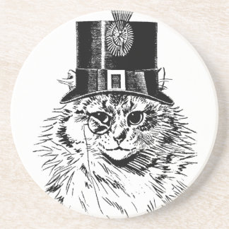 Steampunk Cat Coaster, Kitty in Top Hat Coaster