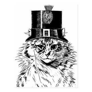 Steampunk Cat Greeting Card, Kitty in Top Hat Postcard