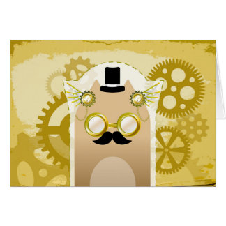 Steampunk Cat greetings card