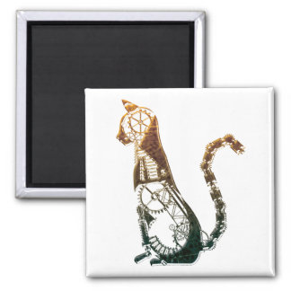 Steampunk cat magnet