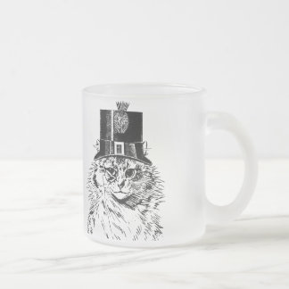 Steampunk Cat Mug, Kitty in Top Hat Frosted Glass Coffee Mug