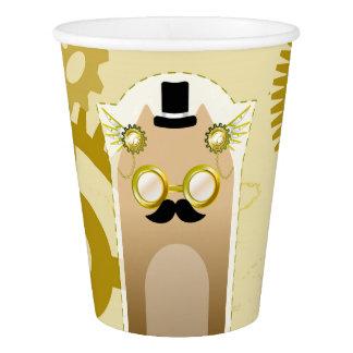 Steampunk Cat Paper Cups