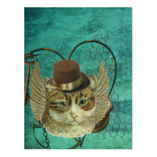 Steampunk cat postcard