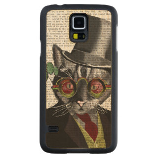 Steampunk Cat - Top Hat and red yellow glasses Maple Galaxy S5 Slim Case