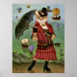 Steampunk Cat Victorian Portrait Gothic Art Print