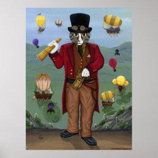 Steampunk Cat Victorian Portrait Gothic Fantasy Ar Poster