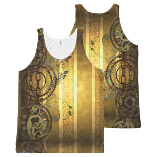 Steampunk Chains and Florals All-Over Print Tank Top