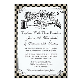 Steampunk Chequerboard Wedding Invitations