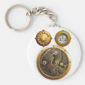 Steampunk clock basic round button key ring