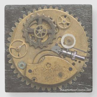 Steampunk Clock Drink Coaster, SciFi Stone Coaster