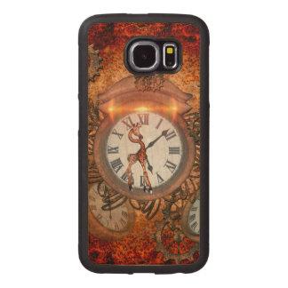 Steampunk, clock with cute giraffe, wood phone case