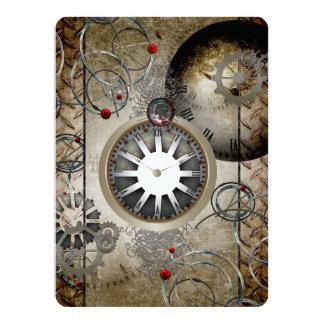 Steampunk, clocks and gears 14 cm x 19 cm invitation card