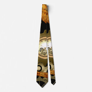 Steampunk, clocks and gears in golden colors tie