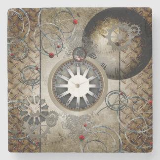 Steampunk, clocks and gears stone beverage coaster