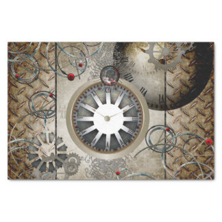 Steampunk, clocks and gears tissue paper