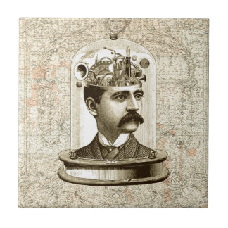 Steampunk clockwork brain head in jar ceramic tile
