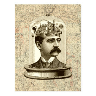 Steampunk clockwork brain head in jar postcard