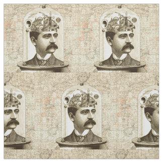 Steampunk clockwork brain moustache man fabric