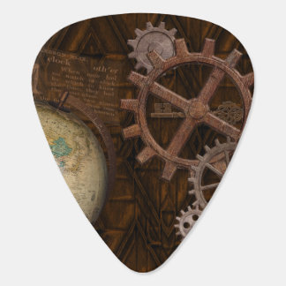 Steampunk Cogs , Gears, Globe & Skeleton Key Guitar Pick
