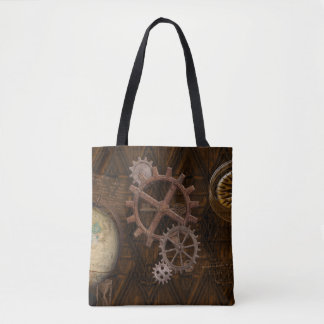 Steampunk Cogs , Gears, Globe & Skeleton Key Tote Bag