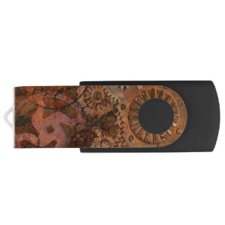 Steampunk Cogs, Gears & Other Paraphernalia Swivel USB 2.0 Flash Drive