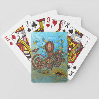 Steampunk Collage Aqua Copper Playing Cards