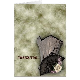 Steampunk Corset and Fan Goth Wedding Card