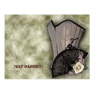 Steampunk Corset and Fan Goth Wedding Postcards