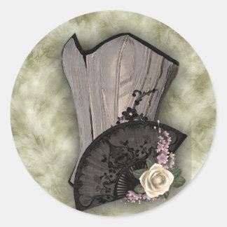 Steampunk Corset and Fan Goth Wedding Round Sticker