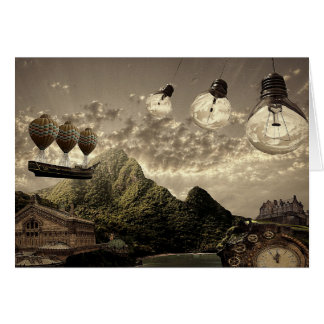 steampunk countryside greeting card