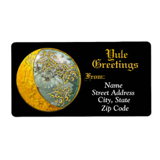 Steampunk Cresent Moon Yule Greetings Label Shipping Label